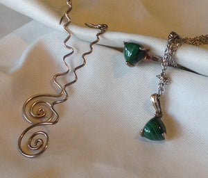 Sterling Silver African Malachite Ring, Pendant, and Silver Dangle Earrings