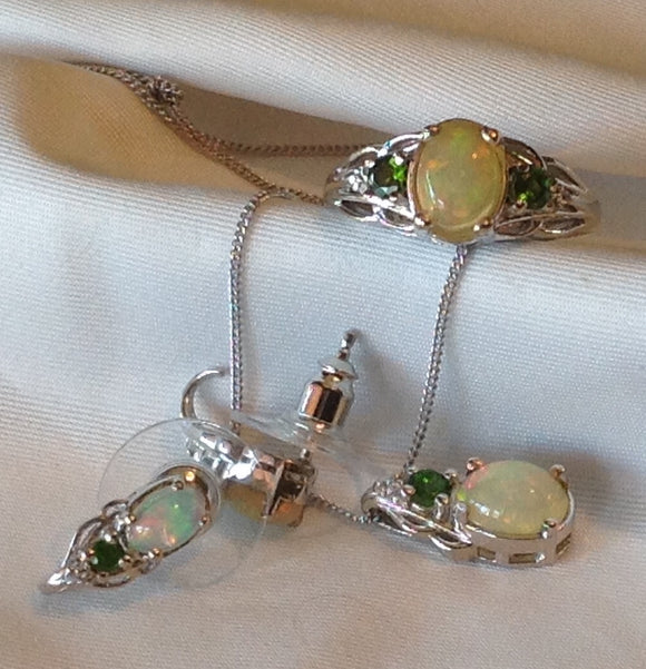 yes SOLD Sterling Silver Ethiopian Welo Opal Set with Russian Diopside accents