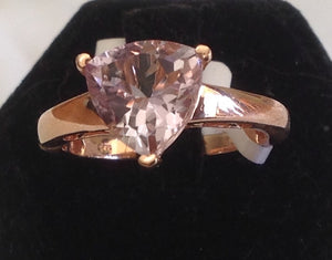 Sterling Silver Amethyst Ring with 14k Rose Gold over Silver, size 5 and 6