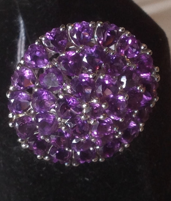Sterling Silver Lusaka Amethyst Cluster Ring, size 6