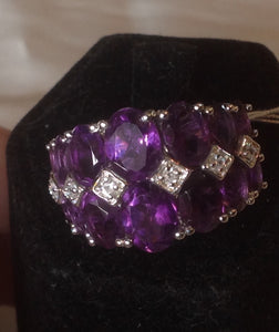 Sterling Silver Lusaka Amethyst Fancy Band Ring, size 7