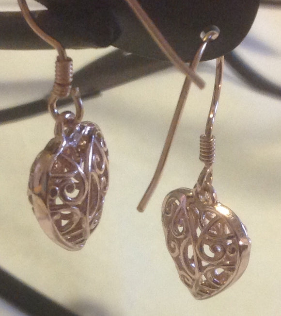 Sterling Silver Earrings:  14k Rose Gold Hearts, hook style