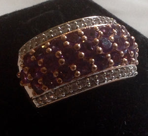 Sterling Silver Rose de France Amethyst Ring in Rose Gold over Silver, size 6