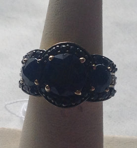 Sterling Silver Blue Sapphire and Thai Black Spinel Ring, size 5