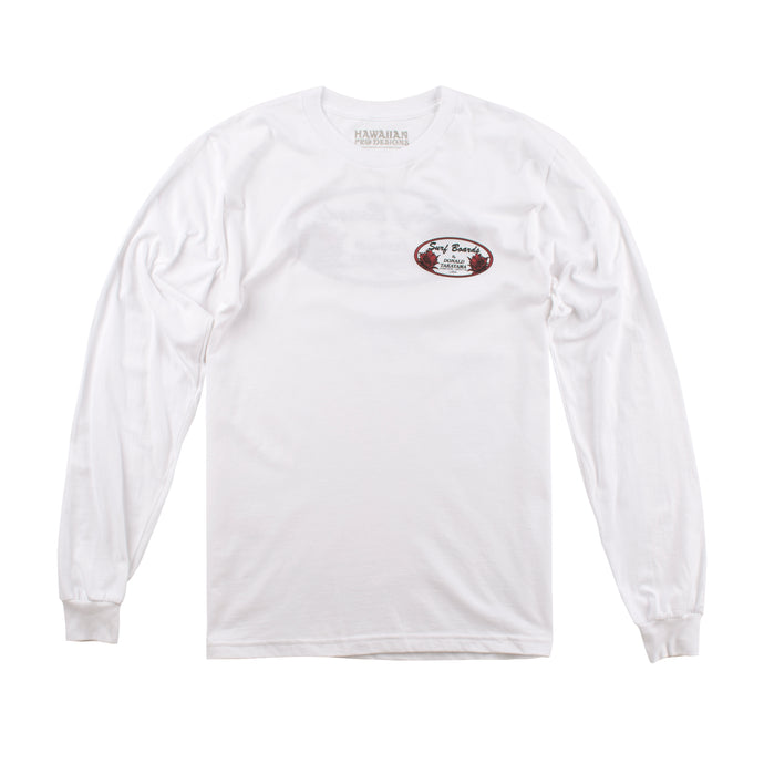 DT101 - Donald Takayama L/S oval tee (red oval logo) - White