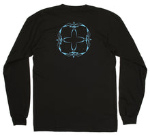 Donald Takayama L/S 4-bird tee (light blue 4-bird logo) - Black