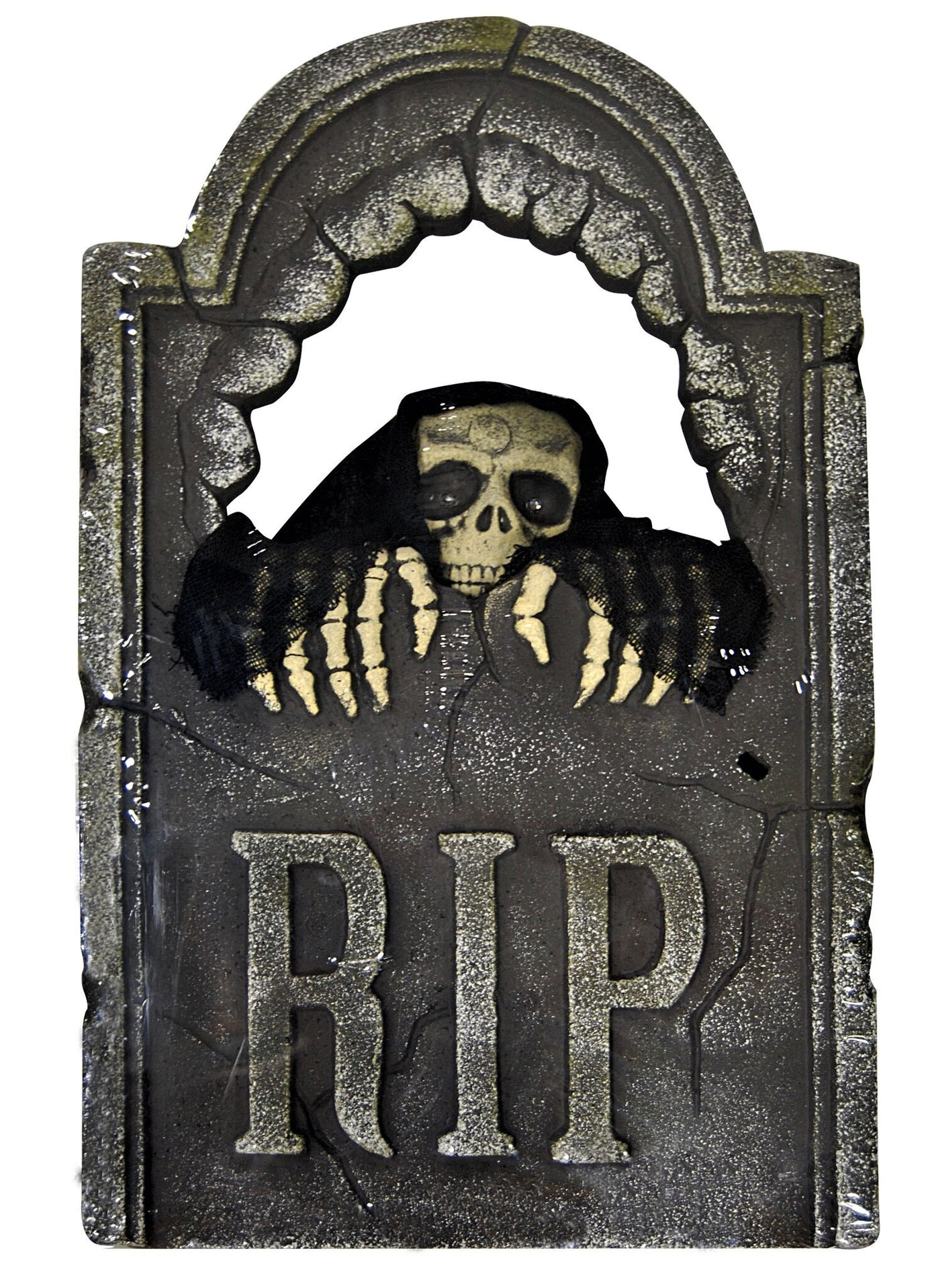 peeping skull tombstone with light up eyes - animated halloween prop