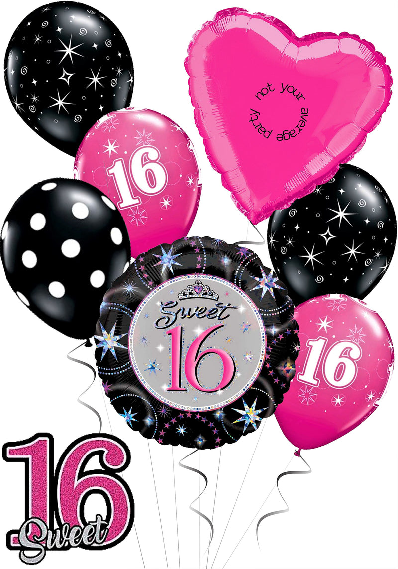 Sweet 16 Birthday Balloon Bouquet Black And Pink