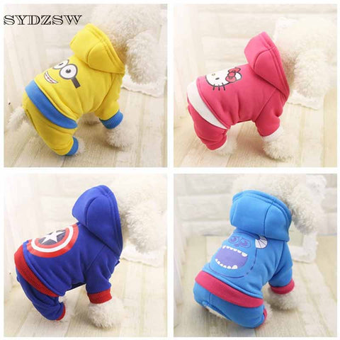 Cartoon Printed Pet Costume Autumn and Winter Dog Clothes