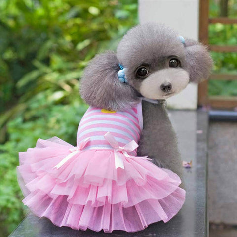 2017 Sweet Puppy Cotton Striped Princess Dress Costume clothes