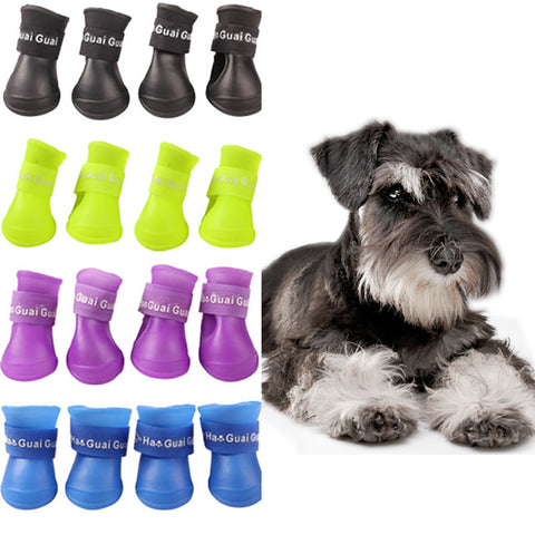 4PCS/set Lovely Dog Shoes Puppy Candy Colors