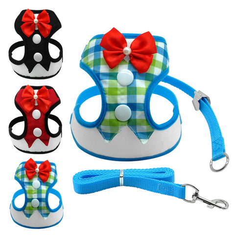Mesh Dog Party Harness Small Bowtie Pet