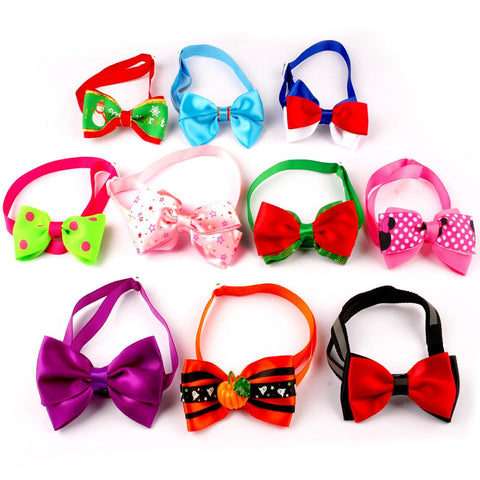 10pcs New Fashion Mixed Colors Adjustable Dog Cat Kitten Bow