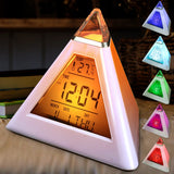 Pyramid Shape Digital Alarm Clock With Date Temperature 7 Colors LED Change Backlight,- Aesthetic rave party cool clotheS APPAREL replica yeezy shoes