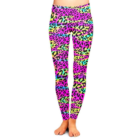 Rainbow Leopard Leggings,- Aesthetic rave party cool clotheS APPAREL replica yeezy shoes