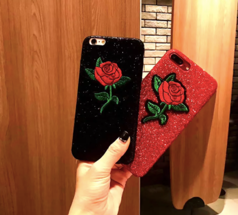AestheticPrints® TPU Embroidered rose with rhinestone glitter girl iphone 6-8 phone case cover,- Aesthetic best website to buy quality replica ua adidas yeezy boost 350 v1 and v2 sneakers