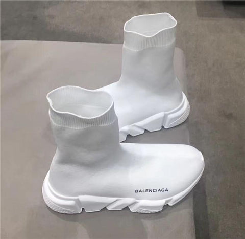 Balenciaga Black and white Speed Trainer with White Textured Sole -yeezy boostv2-ua-hypebeast-designer replicas clothing