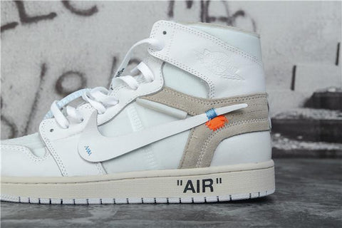 ALL WHITE OFF-WHITE X NIKE AIR JORDAN 1 HIGH MENS SNEAKERS,- Aesthetic best website to buy quality replica ua adidas yeezy boost 350 v1 and v2 sneakers