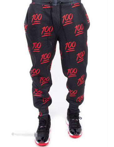 100 1Hunned emoji Jogger sweatpants,- Aesthetic best website to buy quality replica ua adidas yeezy boost 350 v1 and v2 sneakers