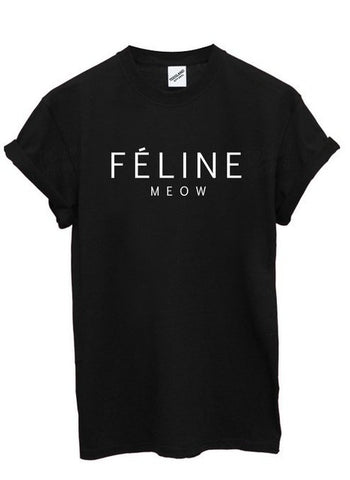 FELINE MEOW celine parody women tshirt,- Aesthetic best website to buy quality replica ua adidas yeezy boost 350 v1 and v2 sneakers