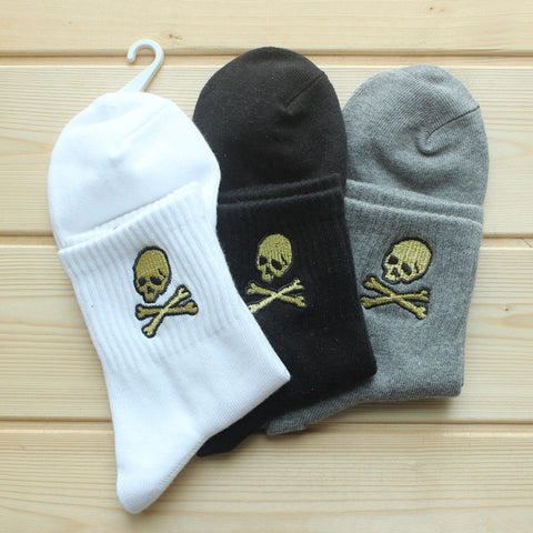 Embroidered skull MEDIUM unisex socks,- Aesthetic best website to buy quality replica ua adidas yeezy boost 350 v1 and v2 sneakers