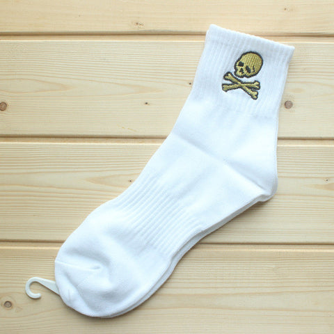 White Embroidered skull unisex sock,- Aesthetic best website to buy quality replica ua adidas yeezy boost 350 v1 and v2 sneakers