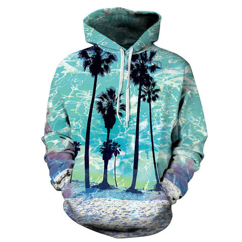 Aqua palm trees unisex Hoodie,- Aesthetic best website to buy quality replica ua adidas yeezy boost 350 v1 and v2 sneakers