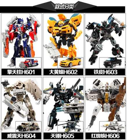 Original transformation of transformers movie characters (mega tron, optimus prime, air hammer, hornet, ironship and starscream)