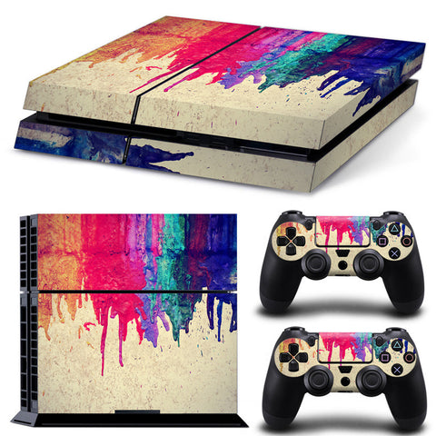 Sick Dripping paint PS4 skin cover,- Aesthetic rave party cool clotheS APPAREL replica yeezy shoes