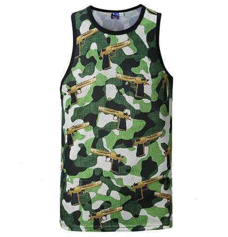 Camo Gunz blazing Tank top,- Aesthetic rave party cool clotheS APPAREL replica yeezy shoes