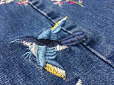 Embroided High waist Floral rose bird straight denim jeans,- Aesthetic best website to buy quality replica ua adidas yeezy boost 350 v1 and v2 sneakers