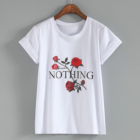 "Rose ""nothing"" girl tshir,- Aesthetic rave party cool clotheS APPAREL replica yeezy shoes"