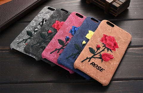 Handmade Rose embroidered iphone phonecover case with suede,- Aesthetic best website to buy quality replica ua adidas yeezy boost 350 v1 and v2 sneakers