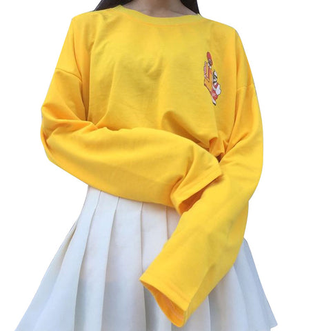 So aesthetic yellow cartoon harajuku kpop tshirt