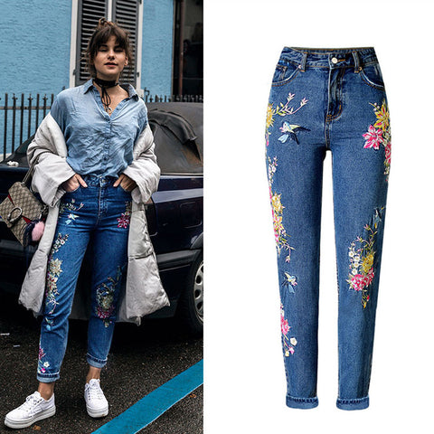 Embroided High waist Floral rose bird straight denim jeans