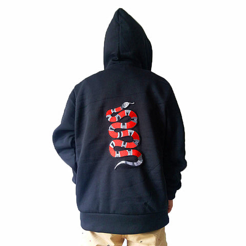 Embroided red snake hoodie