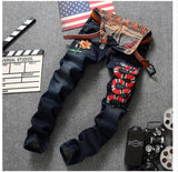 Men Slim Straignt Embroidery snake Flower denim dark blue jeans,- Aesthetic best website to buy quality replica ua adidas yeezy boost 350 v1 and v2 sneakers