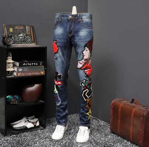 Embroidered men Long denim jeans,- Aesthetic best website to buy quality replica ua adidas yeezy boost 350 v1 and v2 sneakers