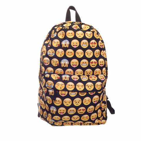 Black Backpack with emojies,- Aesthetic rave party cool clotheS APPAREL replica yeezy shoes