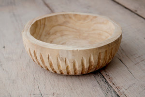 Wooden Ribbed Bowl