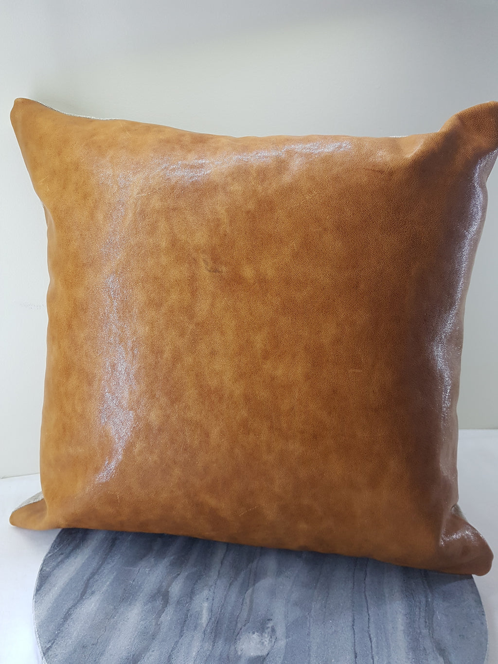 Light Brown Leather 45cm Cushion