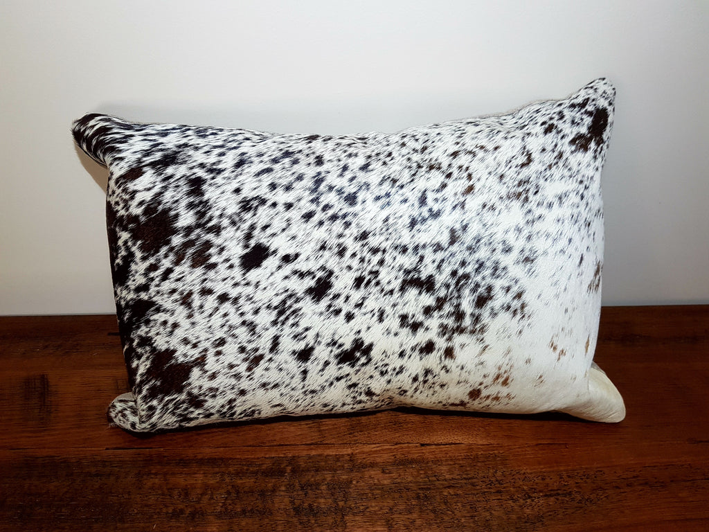 Jenny Custom Order - Black, White and Brown Cow Hide Leather Cushion 50cm x 35cm