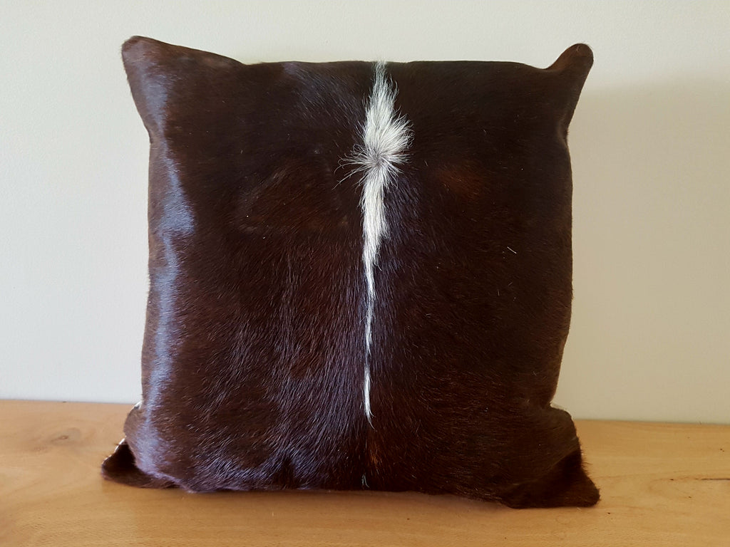 Chocolate Brown and White Cowhide Cushion 45cm