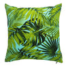 Aqua blue background brings the vibrant green of these palm fronds to life.  This outdoor cushion cover is perfect for any area.
