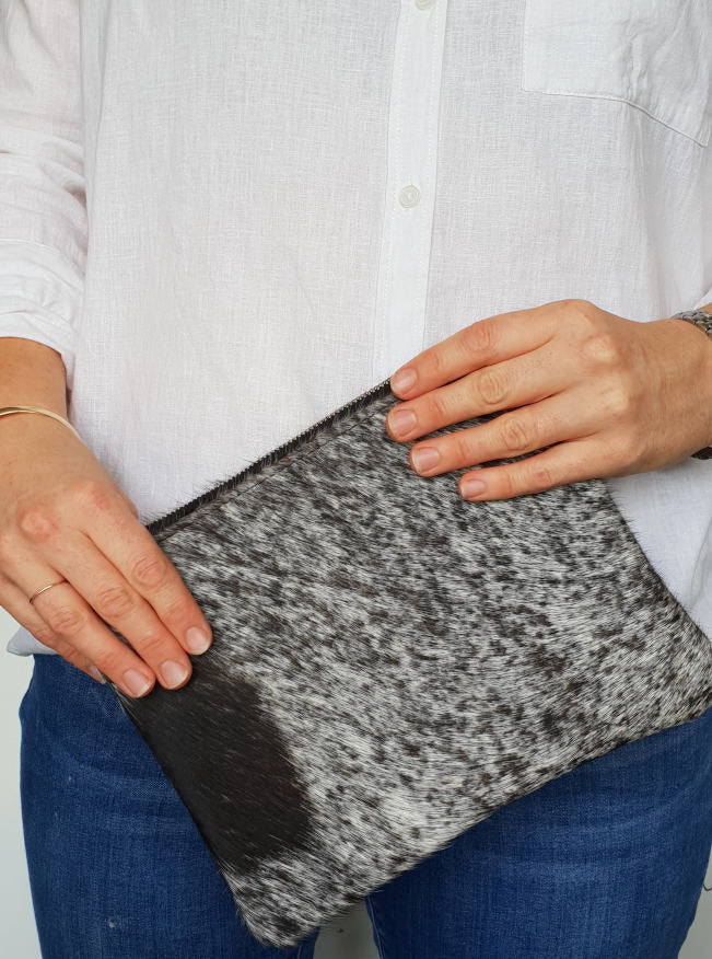 Salt and Pepper Cowhide Clutch