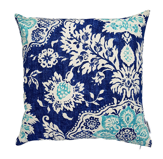 Blue and white damask hamptons style indoor cushion cover