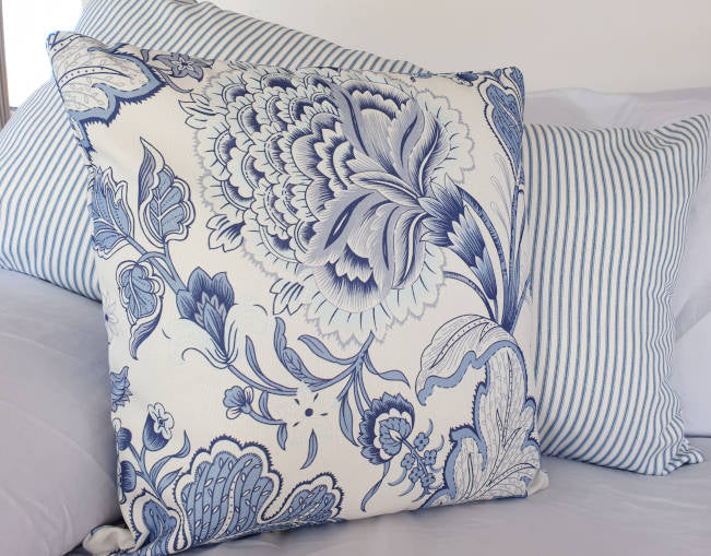 Blue and White Jacobean  Indoor Cushion Cover