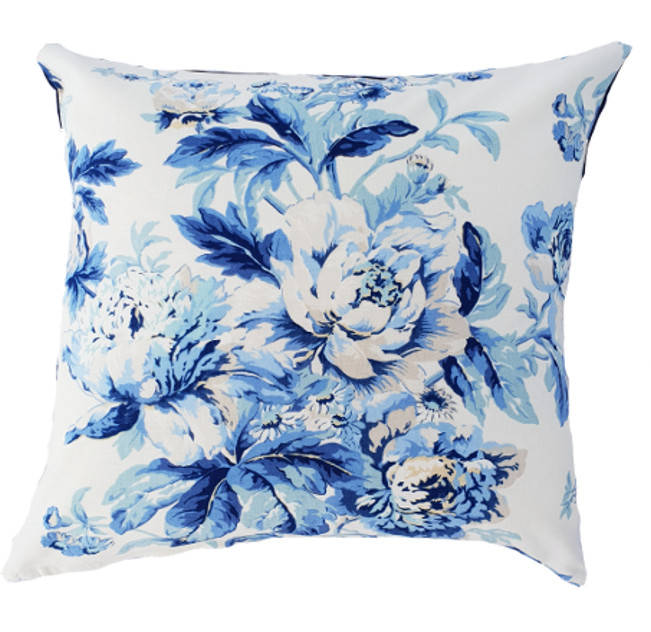 Blue Hamptons Style Floral Bluejay Indoor Cushion Cover