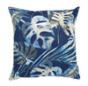 Blue and silver palm leaves indoor cushion cover