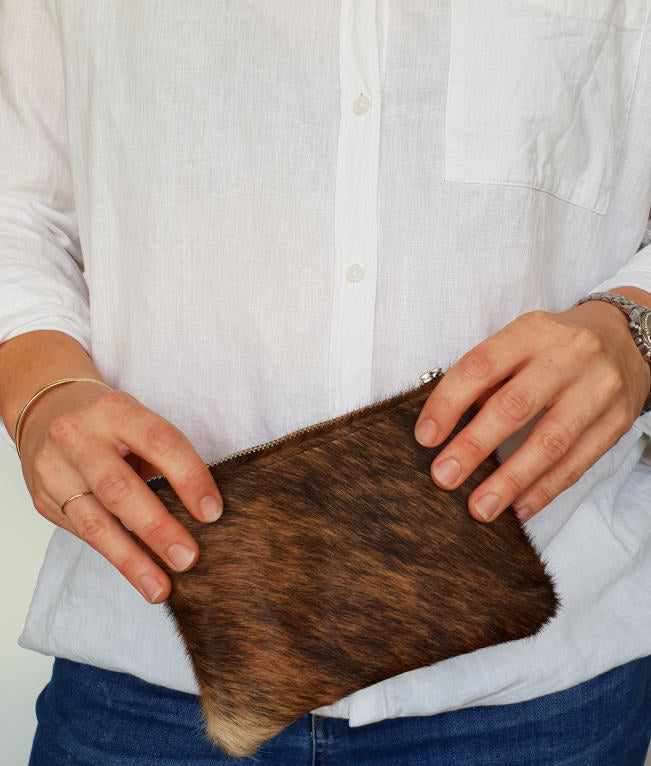 Brindle Cowhide Mini Clutch